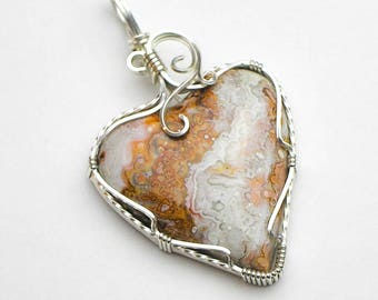 Crazy Lace Agate Heart Shaped Cabochon Swirls and Curls Argentium Sterling Silver Wire Pendant