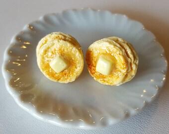 Pancake Stud Earrings - Food Jewelry - Food Earrings - Polymer Clay - Breakfast Earrings