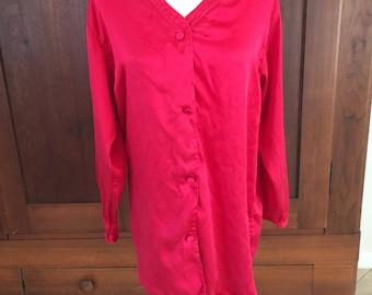 M / Victoria's Secret Silk Red NIghtshirt Gold Label