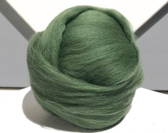 "Light Olive Green merino ""Ivy"" wool roving, Needle Felting wool, Spinning Fiber, yellow green Merino roving, wet felting, nuno felting wool"
