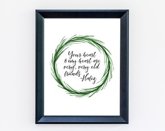 Hafiz Quote Print - Your Heart and My Heart - Typography Print - Home Decor - Anniversary Gift - Poetry - Bedroom Art