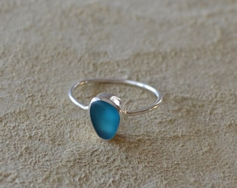 Dainty Sterling Silver Ring with Sterling Silver Bezel Genuine Sea Glass