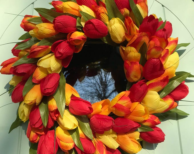 Orange red and yellow spring tulip wreath