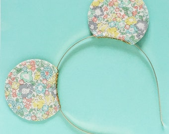 Mickey Ears Headband Liberty of London Blue Floral, Reversible Glitter, giddyupandgrow