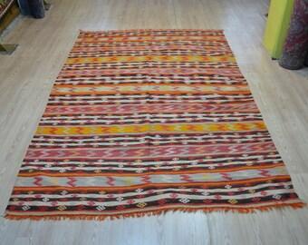 Turkish kilim. Vintage orange kilim. Turkish rug. Kilim rug. Free shipping. 8.3 x 5.5 feet.
