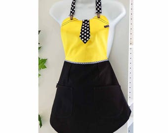 Woman black and yellow apron
