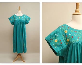 Vintage 70s Oaxacan Dress Mexican Embroidered Midi Floral Festival Sun Dress 1970s Boho Hippie Ethnic Teal Dress