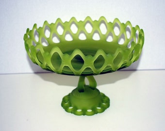 Large Frosted Avocado Green Pedestal Bowl Compote Reticulated Lace Centerpiece Basket