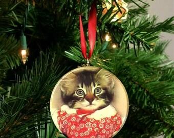 Vintage Cat Image Christmas Tree Ornament