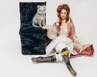 Molly cloth art doll poseable needle felted cat boudoir doll chair parlour style