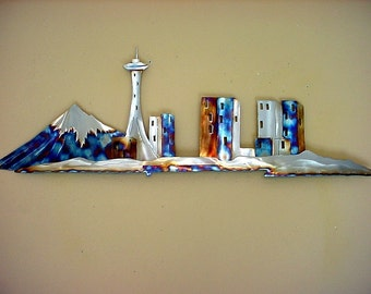 Seattle Space Needle Stainless Steel Metal Wall Art Downtown Skyline 1962 Worlds Fair Pacific NW North West Home Decor