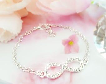 Silver Infinity Bracelet - Crystal Bracelet for Women - Clear Rhinestone Bracelet Figure 8 - Forever Bracelet - Girlfriend Jewelry B1056