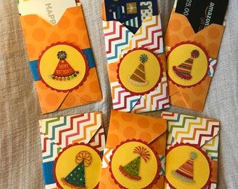 5 Birthday Hat Gift Card Holders