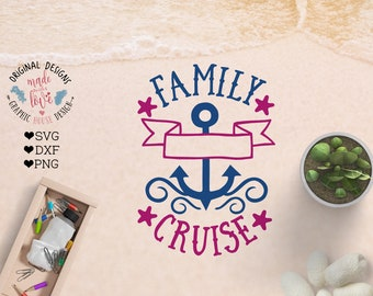 Family Cruise svg, Family Cruise Cut File in SVG, DXF, PNG with blank space so you can write family name or year, summer svg, travel svg