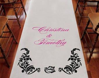 Love Bird Damask Personalized Aisle Runner Wedding Ceremony Decoration
