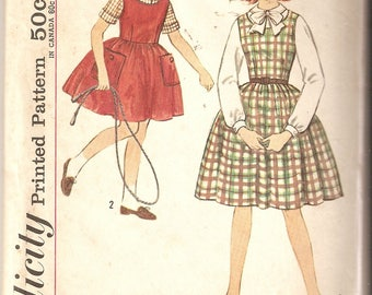 VINTAGE Simplicity Sewing Pattern 4626 - Children's Clothes - Girl's Jumper and Blouse, Size 12