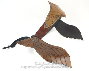 Valkyrie, Viking, LARP, Leather Crown, Thor, Wings,  Inverse Winged Crown in Brown, Circlet, Cosplay, Amazon