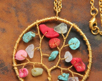 Multi color gemstone Tree of Life Pendant in copper Wires, Wire Wrapped Tree of Life Pendant Necklace,Multi-colorTree of Life