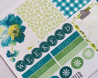 W024--Morning Glory Planning Stickers for the  Erin Condren Vertical Planner, ECLP, or Happy Planner. Watercolor, Leopard, Gingham
