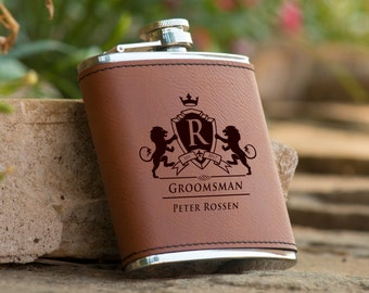 Personalized 6 oz. Leatherette Stainless Steel Flask - Groomsman Flask - Best Man Flask - Personalized Flask - Brown Flask - Monogram Flask