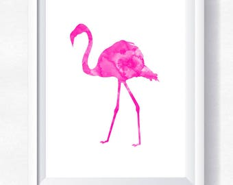 FLAMINGO print, flamingo printable, flamingo watercolor, flamingo wall art summer wall art, pink flamingo printable poster, instant download
