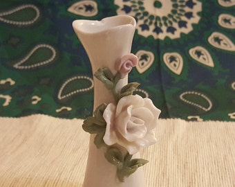 Pretty mini vase with sculpted Roses-porcelin