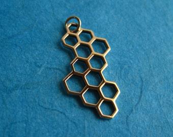 Bronze Honeycomb Openwork Pendant Charm