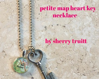 Petite  Map Necklace with Heart Key