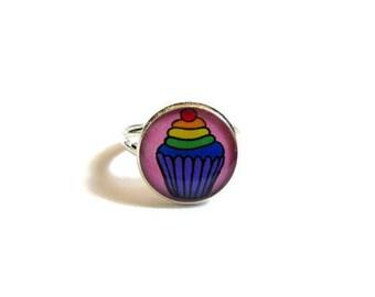 KIDS RING - cupcake ring - cake jewelry - rainbow - Cute Cupcake Ring - Candy Kids Girl Jewelry - Children Gift - Kawaii Birthday Favor Pink