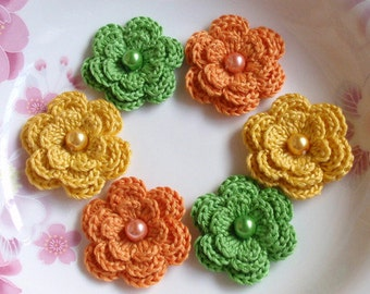 6 Crochet Flowers With Pearls In Green, Yellow, Orange  YH-011-55