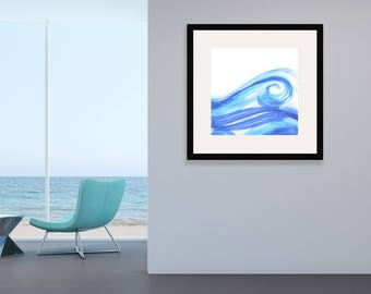 Waves Wall Art, Sea Digitial Download Illustration, Sea Watercolor Print,  Watercolor Waves Wall