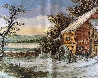 Vintage Snowy Cabin Country Landscape Pre-worked Finished Needlepoint 21 x 27