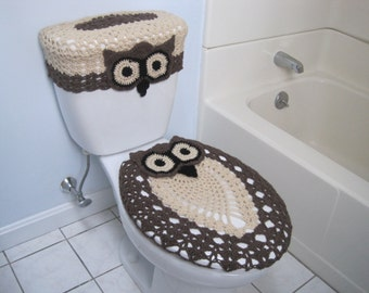 toilet seat lid covers. Crochet Set Of Owl Toilet Tank Lid And Seat Covers  Oatmeal Taupe Heather Cover Wrap Real