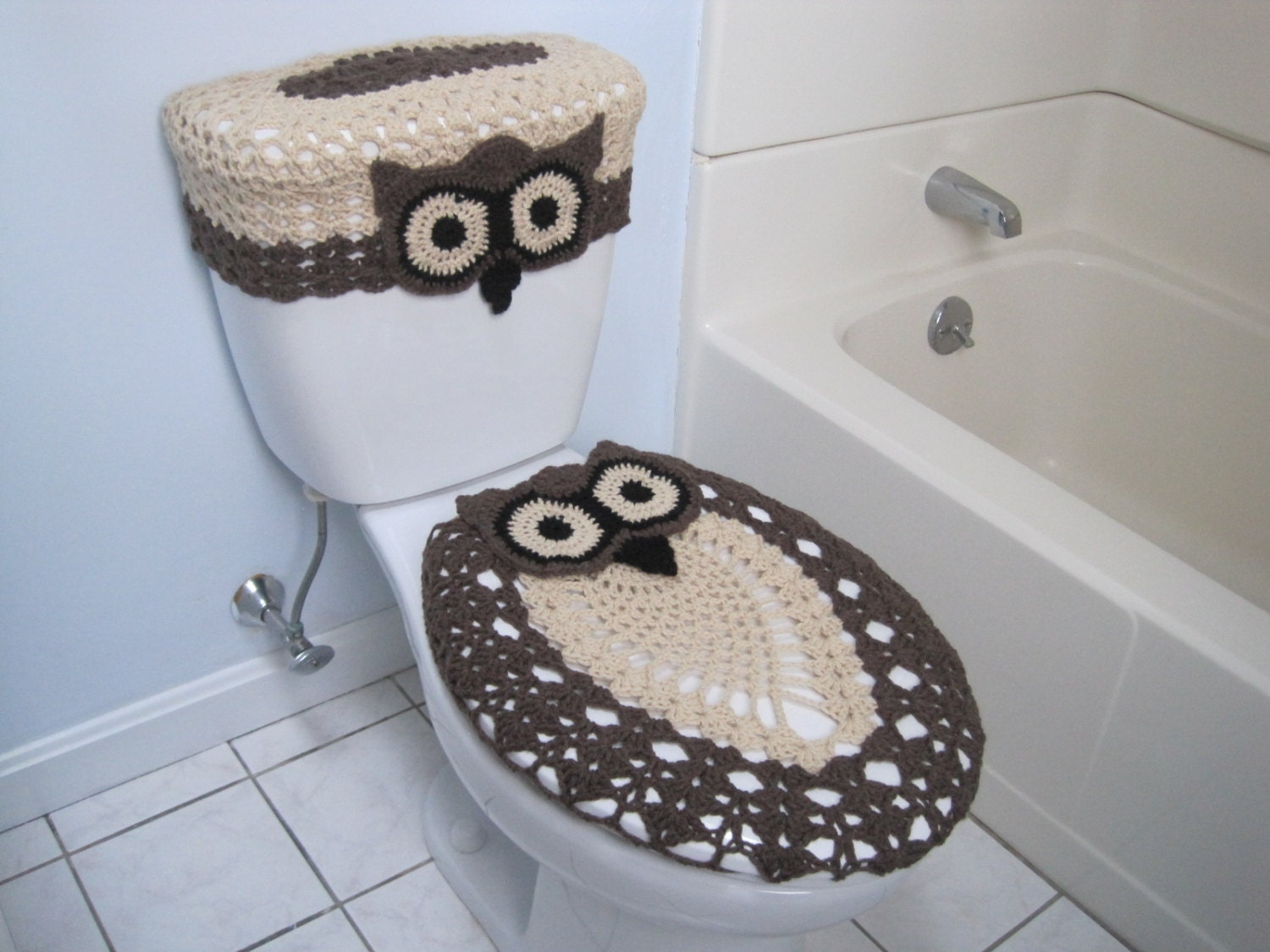 Crochet Set Of Owl Toilet Tank Lid And Seat Covers