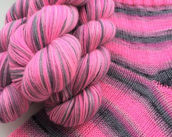 Hand dyed self striping merino sock yarn - Rule-Breaking Moth
