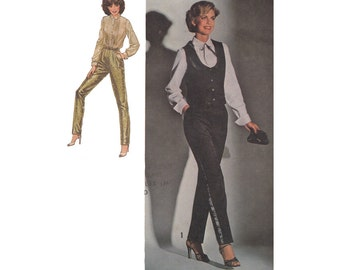 Womens Tuxedo Pants Pattern with Top & Lined Vest Vintage 1970s Simplicity 8881 Size 12 Bust 34