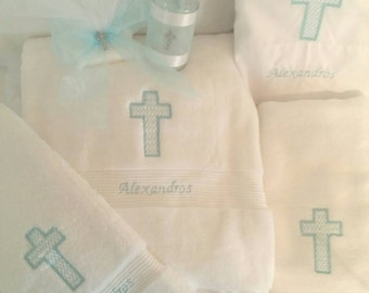 Personalized Baptism Towels and Oil Sheet for Greek Orthodox Baptism, Bath Towel, Embroidered, Soap and Oil Bottle