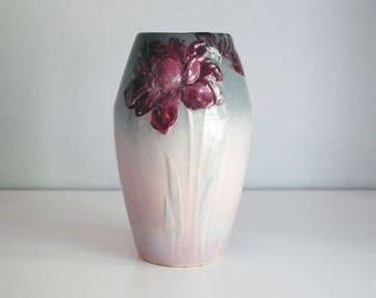 Weller Pottery Vase, Etna Flower Vase, Antique Art Pottery, Pink Gray Ombre Vase, Fine Art Ceramics, Arts and Crafts, Long Stem Flowers