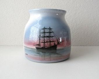 Boat Decor, Boat Art, Handmade Pottery, Coastal Decor, Oregon Vintage, Oregon Coast, Oregon Art, Ceramic Vase, Handmade Art, Coastal Art