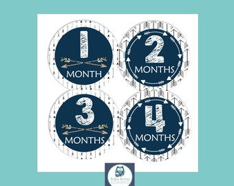 Baby Month Stickers, New Mom Gift, Baby Milestone Sets, Monthly Baby Stickers Boy, Baby Scrapbook Stickers, Month by Month, Tribal Arrow