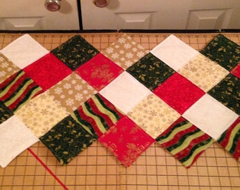 Traditional red and green Christmas table runner 48x17