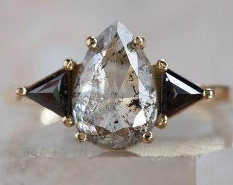 One of a Kind Salt + Pepper Rose Cut Diamond Ring with Black Diamond Trillions