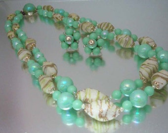 1950's Necklace & Earrings Set Corolene Coraline Beads Turquoise Iridescent Hong Kong