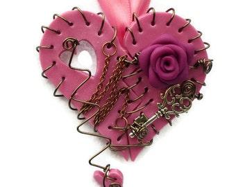 Necklace Broken Heart Magenta Antique Bronze Polymer Clay Rose Key