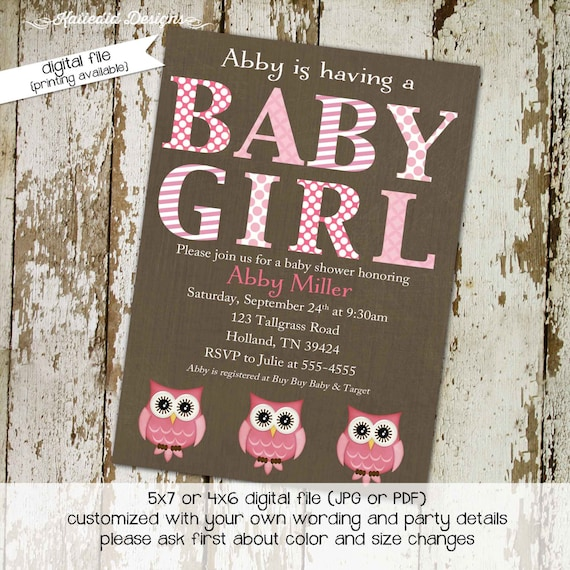 owl baby shower invitation couples coed diaper wipes sprinkle sip see twins two moms it's a girl pink LGBT gay | 1337 Katiedid Designs