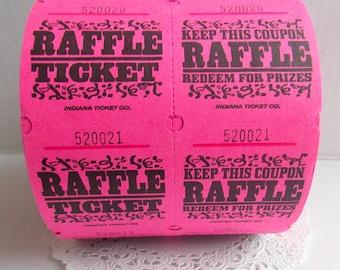 Hot Pink Raffle Tickets / 20 Tickets / Pink Tickets / Carnival Tickets / Journal Supply / Scrapbook Ephemera