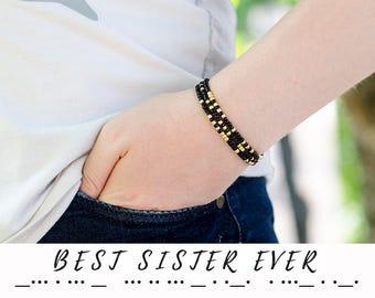 Birthday Gift for Sister Bracelet Morse Code Jewelry Sister Gift Dainty Bracelet Layered Bracelet Minimalist Jewelry Gift for Sister Gift