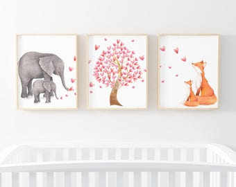 Nursery Print Set of 3-Elephant Fox Print-Heart Tree Print-Elephant Fox Print Set 3-Nursery Prints-Girl's Room Print Set-Instant Download