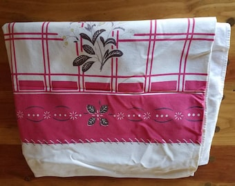 Vintage 30's linen Tablecloth--red and white floral