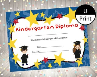 Preschool pre k graduation kids diploma child certificate kindergarten graduation child kid diploma certificate award diy party supply instant download printable pdf boy and yelopaper Gallery